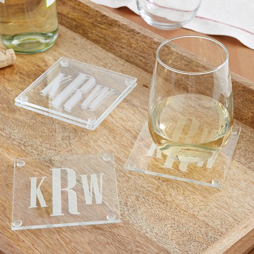 Personalized Timeless Monogram Glass Coaster Set