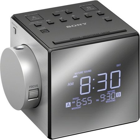 Sony AM_FM Dual Alarm Clock Radio with Large LED Display_ Soothing Nature Sounds_ Time Projection_ USB Port_ Gradual Wake (Sony Icfi1pj Nature Sound And Projection Clock Radio)