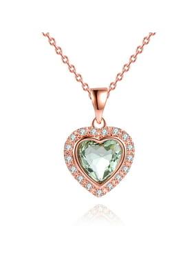 Peermont Peermont 3 Carat Green Amethyst Heart Necklace in 18k Rose Gold Overlay