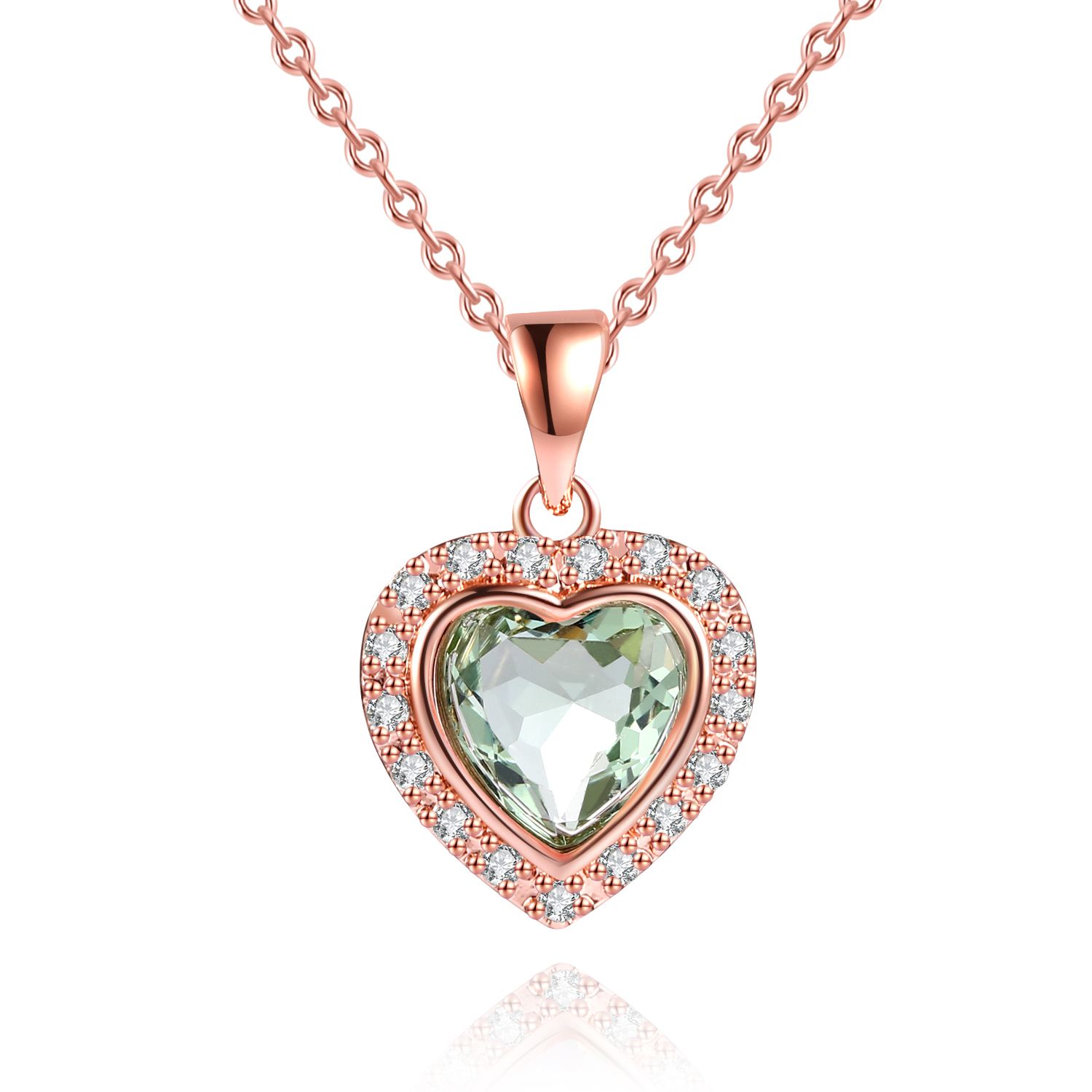 Sweet necklace with heart and green amethyst Silver gold plated
