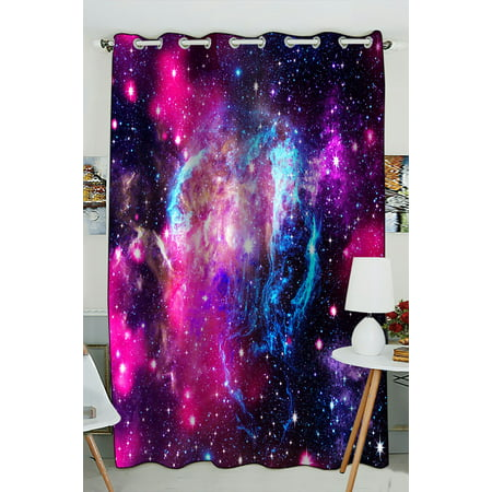 PHFZK Cosmos Cosmic Window Curtain, Abstract Nature Universe Galaxy Nebula in Deep Outer Space Window Curtain Blackout Curtain For Bedroom living Room Kitchen Room 52x84 inches One - Outer Window