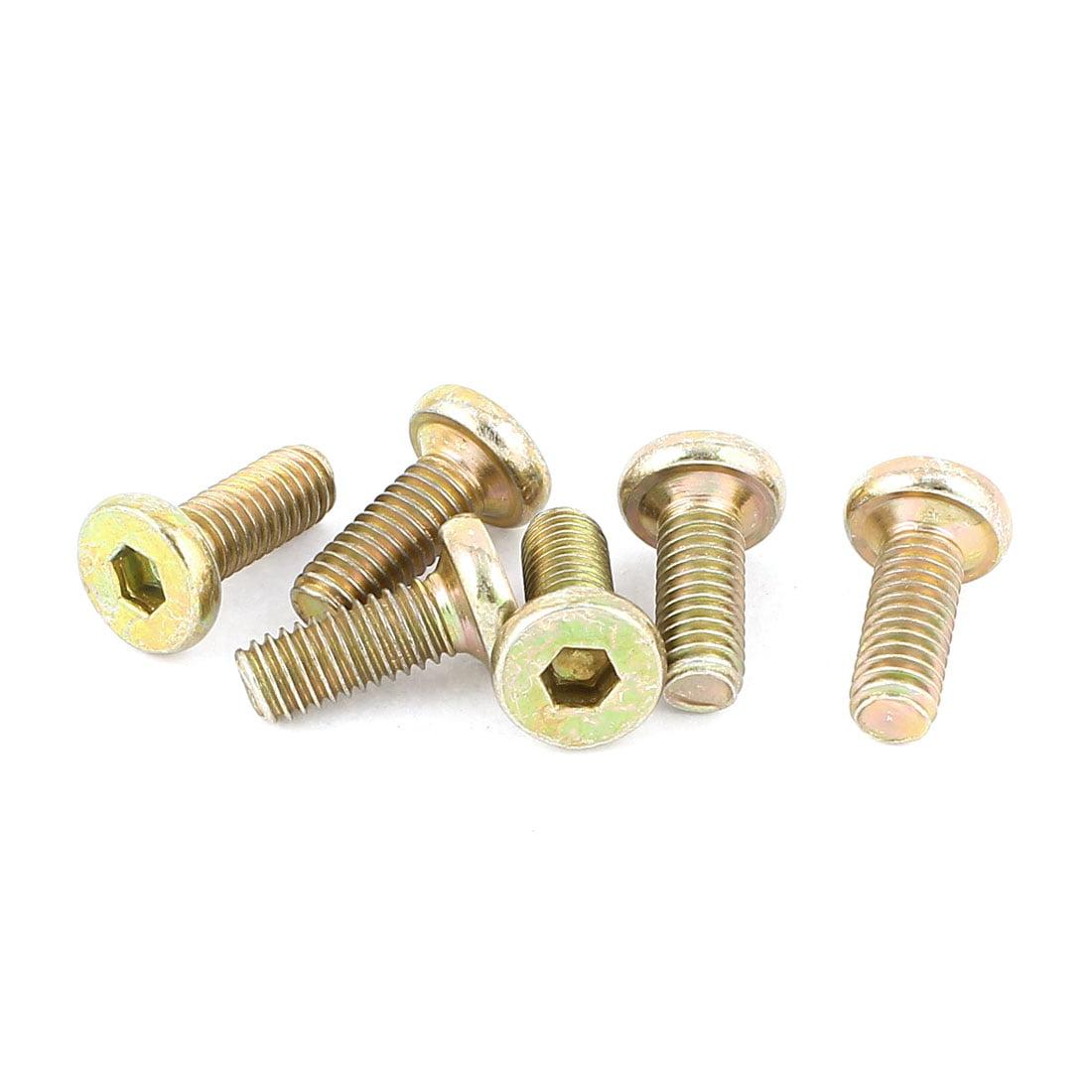 Uxcell M6 x 15mm Threaded Hex Socket Head Cap Screws Bolts Bronze Tone (6-pack)