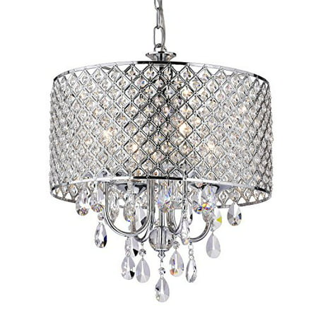 EDVIVI EPG801CH Chrome Finish Drum Shade 4-Light Crystal Chandelier Ceiling Fixture, -