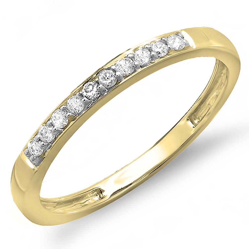 0.15 Carat (ctw) 14K Gold Round Cut Diamond Ladies Anniversary Wedding Stackable Band
