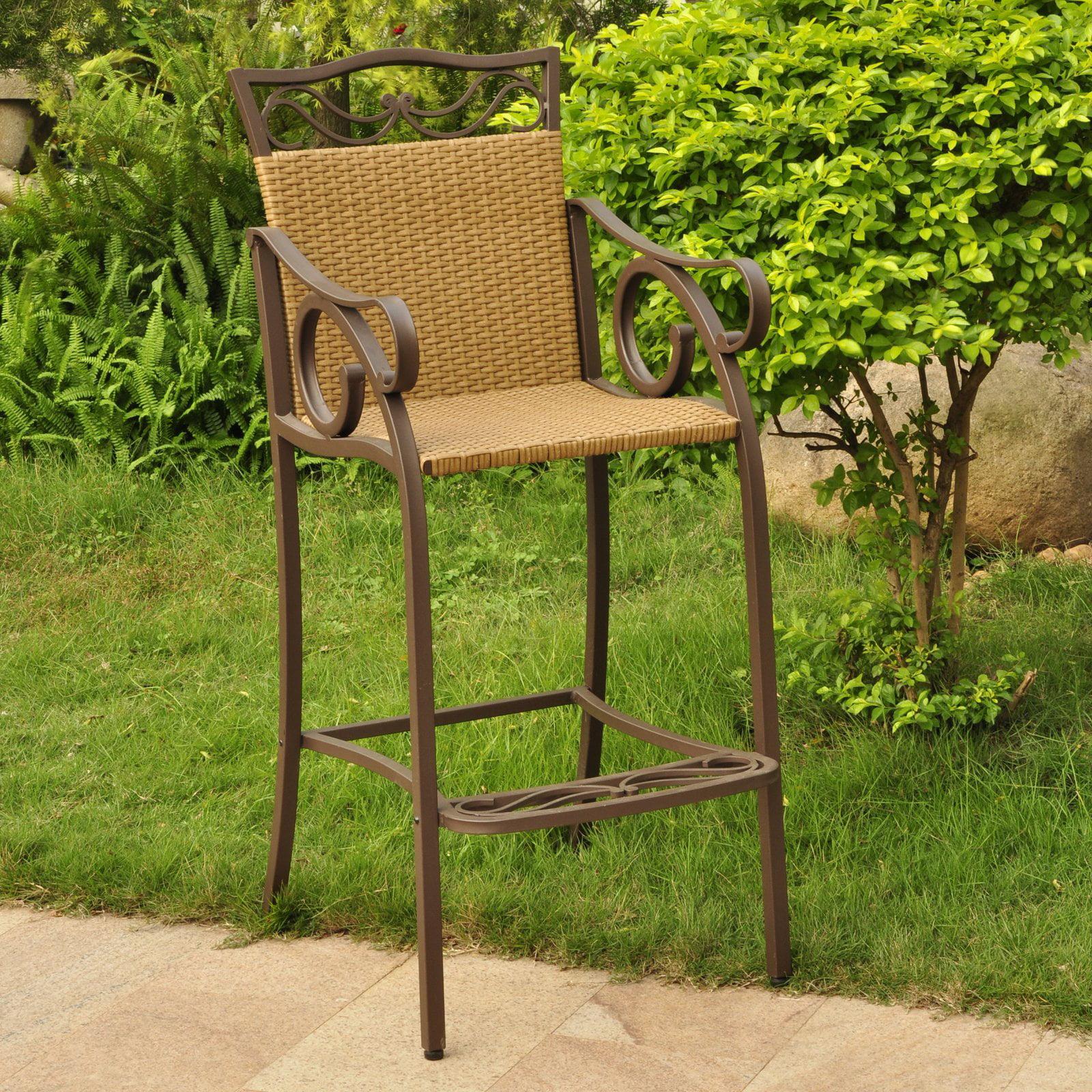 International Caravan Valencia Bar Height Wicker Resin Patio Chair Set of 2 by