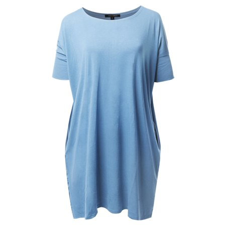 FashionOutfit Women's Solid Loose Fit Dolman Tunic Top With Side Pockets