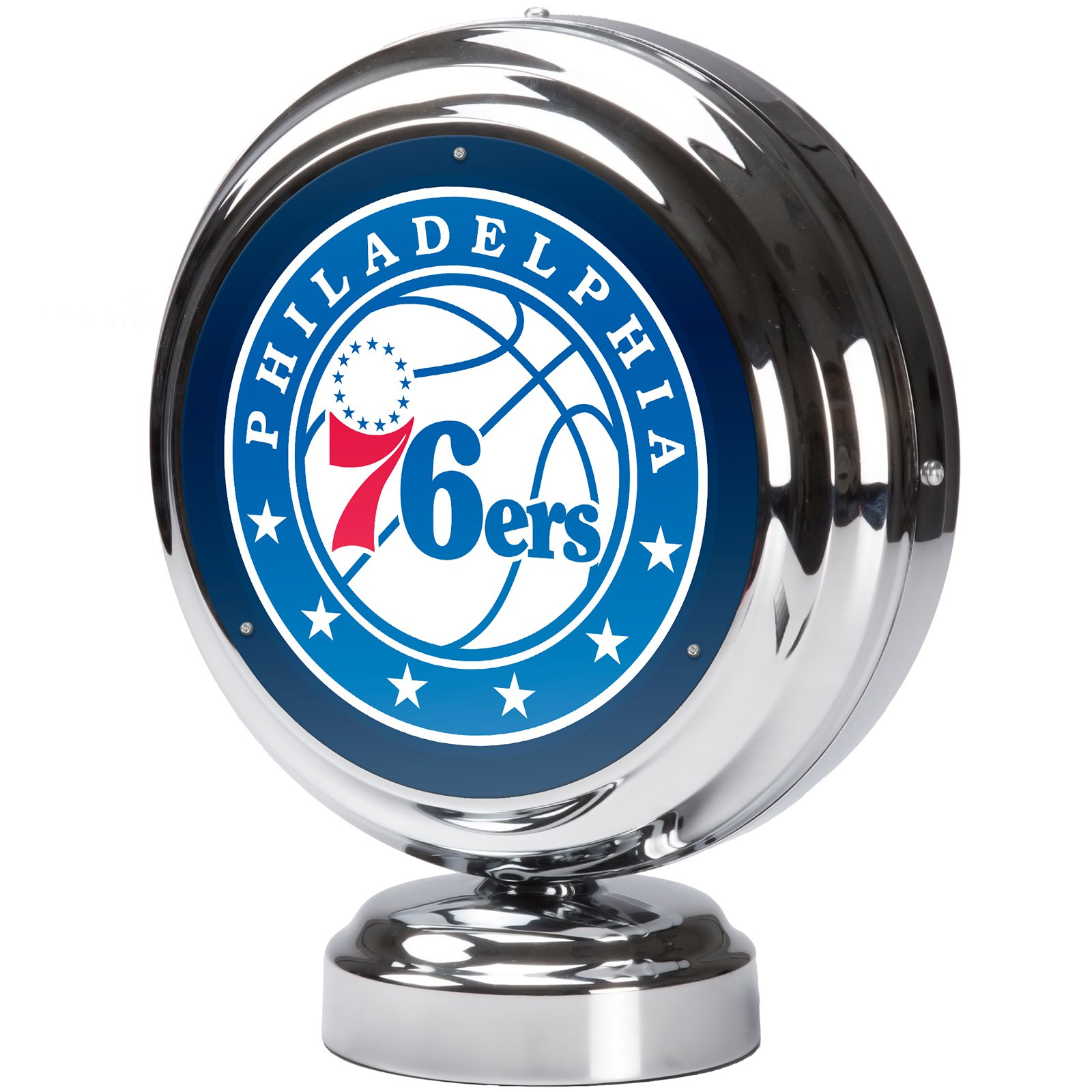 Philadelphia 76ers NBA Chrome Retro Style Tabletop Neon Clock