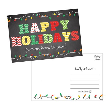 50 Chalkboard Holiday Greeting Cards, Cute Fancy Blank Winter Christmas Postcard Set, Bulk Pack of Premium Seasons Greetings Note, Happy New Years for Kids, Business Office or Church Thank You Notes