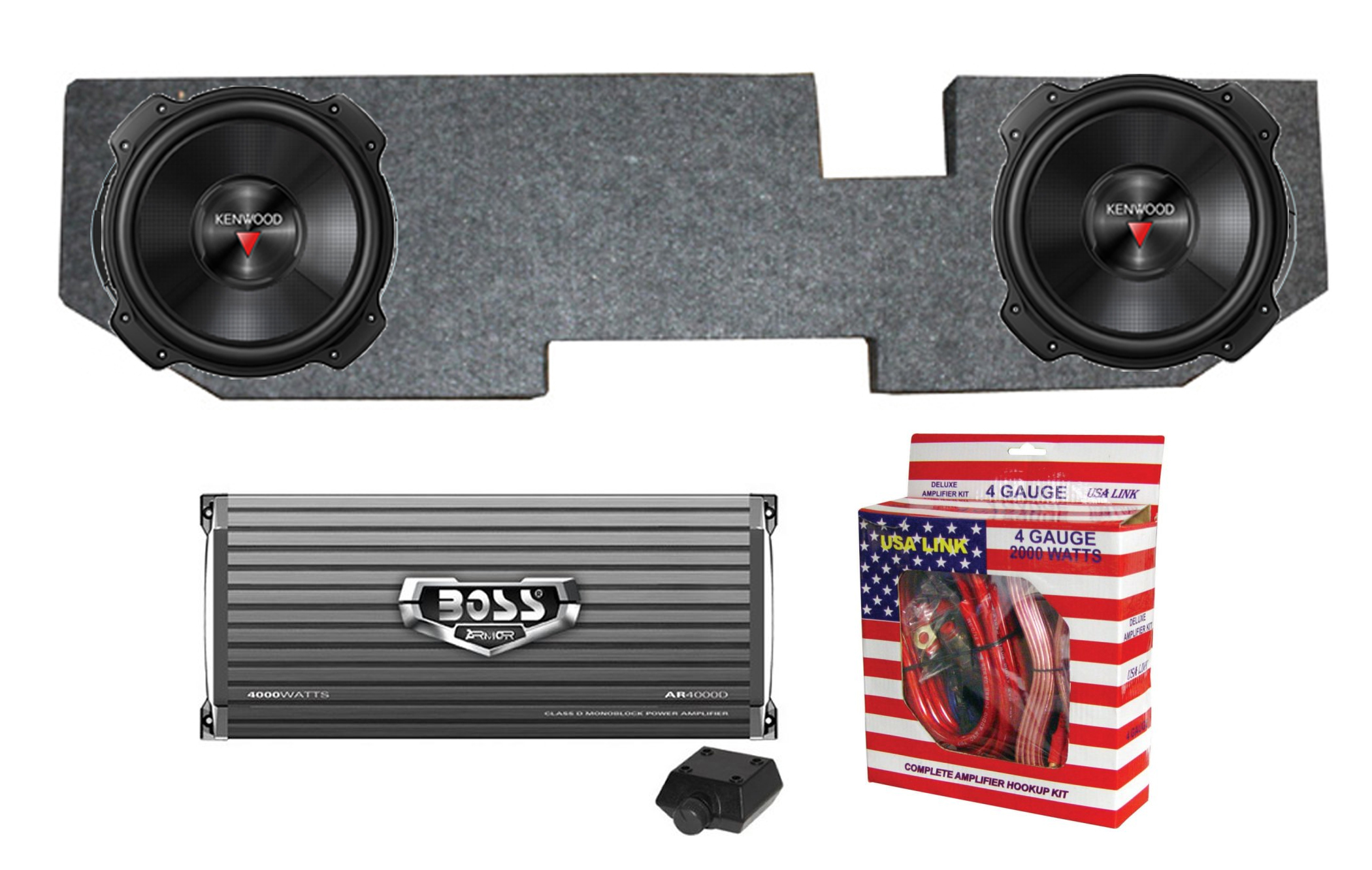 """2) Kenwood 12"""" 2000W Subs + Dodge Ram Quad Cab '02-New Box + Amplifier + Wiring by Qpower"""