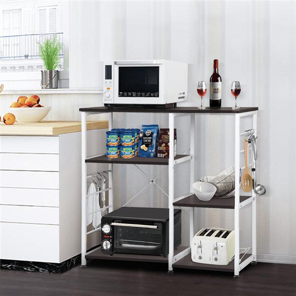 Yywyu Kitchen Bakers Rack with 4-Tier+3-Tier Shelf Organizer Workstation Kitchen Desk Utility Storage Shelf with 35.5 Microwave Stand Spice Rack