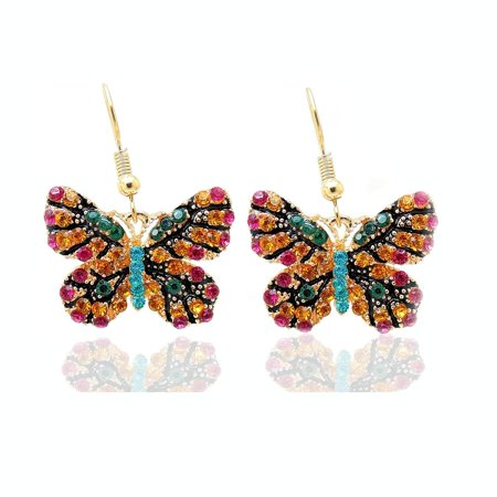 Multi Jeweled Dangling Earring (Jeweled Multi Colored Butterfly Hook Earrings Ginger Lyne Collection)