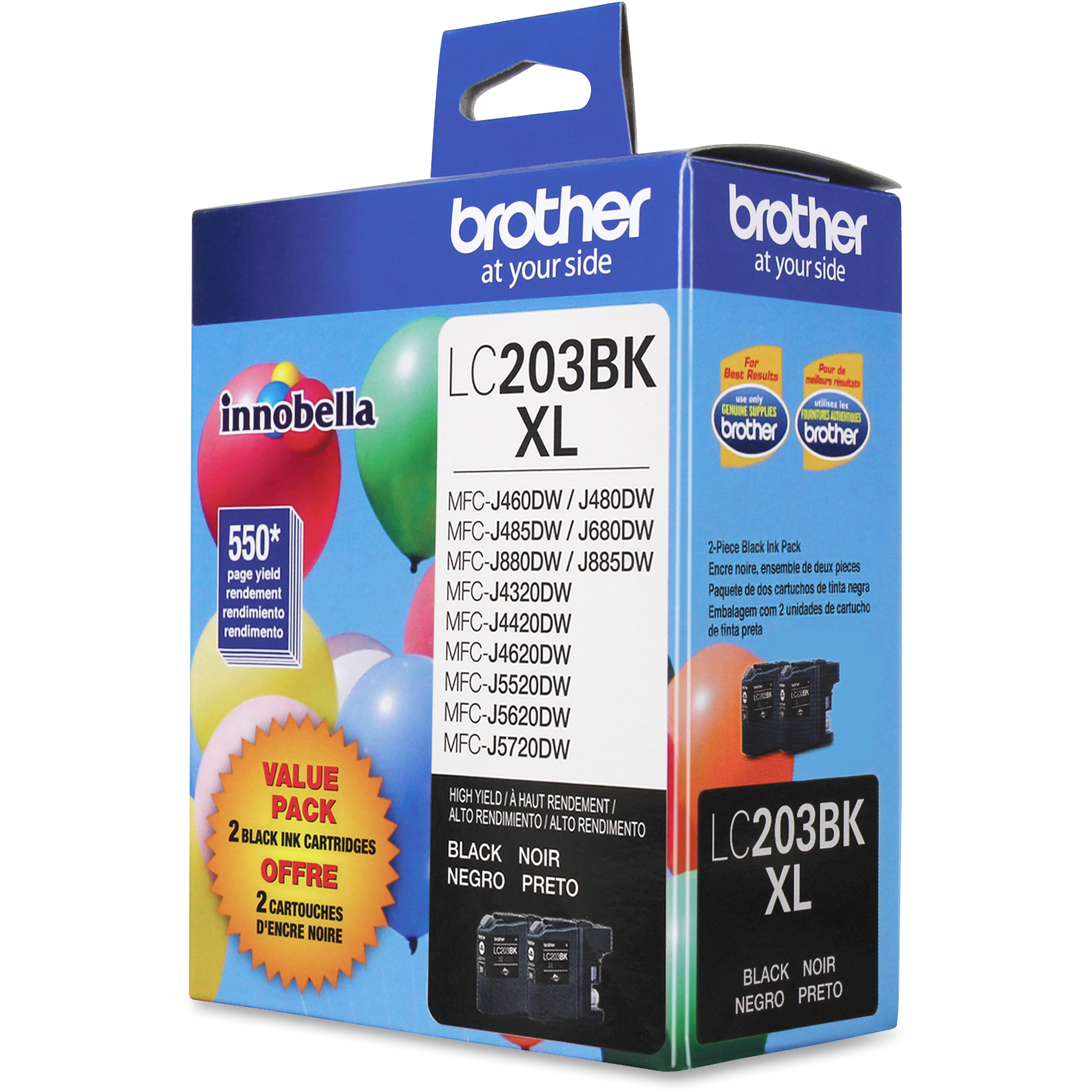 Brother LC2032PKS Innobella High-Yield Ink, Black, 2/PK