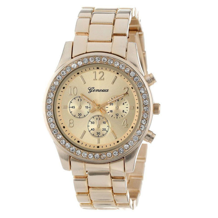 Outtop Faux Chronograph Quartz Classic Round Ladies Women Crystals Watch Gold