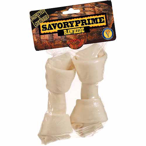 "Savory Prime Supreme Knotted Rawhide Bone, White, 6""-7"", 2-Count"