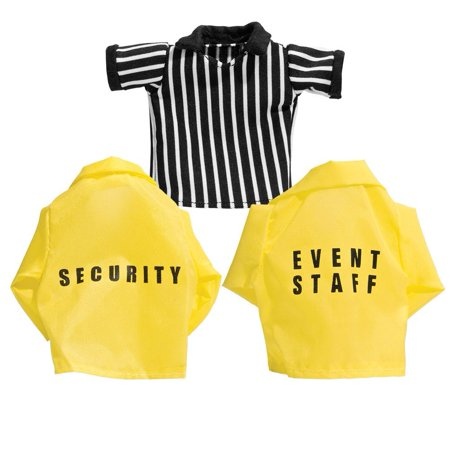 Set of 3 Loose Wrestling Action Figure Shirts: Referee, Security, Event Staff for WWE Wrestling Action Figures