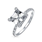 Art Deco Style 3CT AAA CZ Square Asscher Princess Cut Solitaire Engagement Ring for Women With 1MM Thin Pave Band .925 Sterling Silver