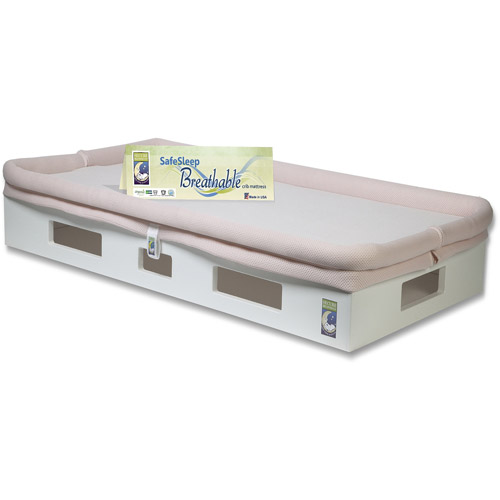 SafeSleep Breathable Crib Mattress, White Base, Light Pink Surface by Secure Beginnings