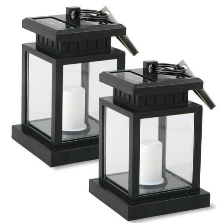 2-pack Waterproof Outdoor Solar Lantern Hanging Light LED Candle Yard Patio Garden Lamp ()