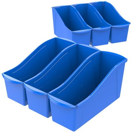 Storex Large Book Holder Bin, Classroom Blue, 6-Pack - Landscape Magazine Holder