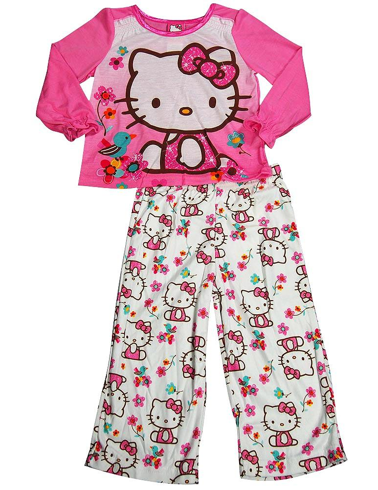 Sizes 4-10 Hello Kitty Girls Fuchsia Kitty Folk Motif 2 Pc Pajama Set