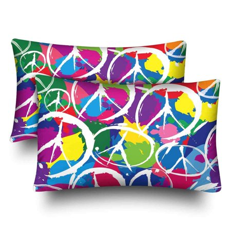GCKG Seamless Pattern Multicolor Peace Sign Symbol Pillow Cases Pillowcase 20x30 inches Set of 2 - image 4 of 4
