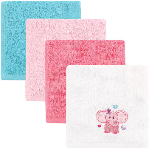Click here to buy Luvable Friends Baby Woven Terry Washcloths, Pink Elephant, 4 Pack by Luvable Friends.