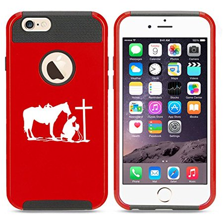 Apple iPhone 5 5s Shockproof Impact Hard Case Cover Cowboy Praying Cross Horse (Red ),MIP