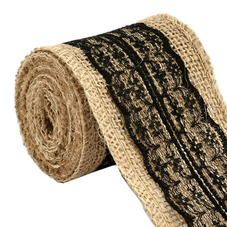 Burlap Hessian Crafting Lace Ribbon Roll Trim Edge Black 2.2 Yards for Wedding