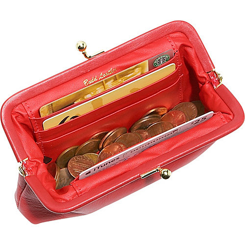 """Budd Leather 5"""" Coin Purse With Credit Card Slits"""