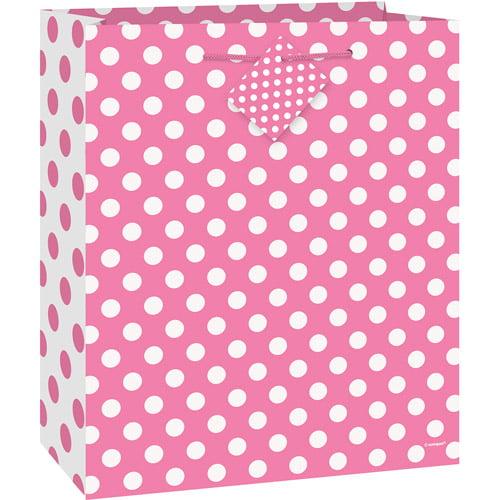 Hot Pink Polka Dot Gift Bag