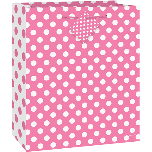 Hot Pink Polka Dot Gift Bag