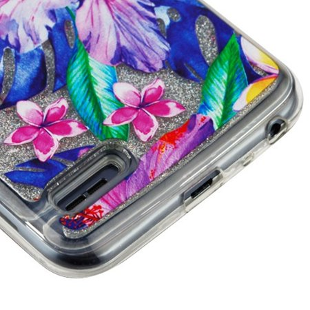 Insten Luxury Quicksand Glitter Liquid Floating Sparkle Bling Fashion Phone Case Cover for LG Stylo 3 - Water Color Hibiscus Flowers - image 3 of 5