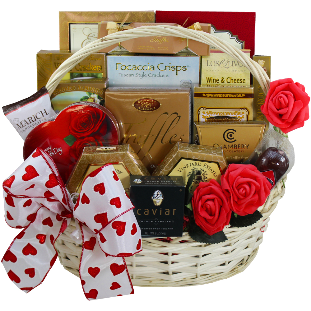 My Gourmet Valentines Day Gift Basket for Him or Her with Caviar, Cheese, Chocolates, Candy and More