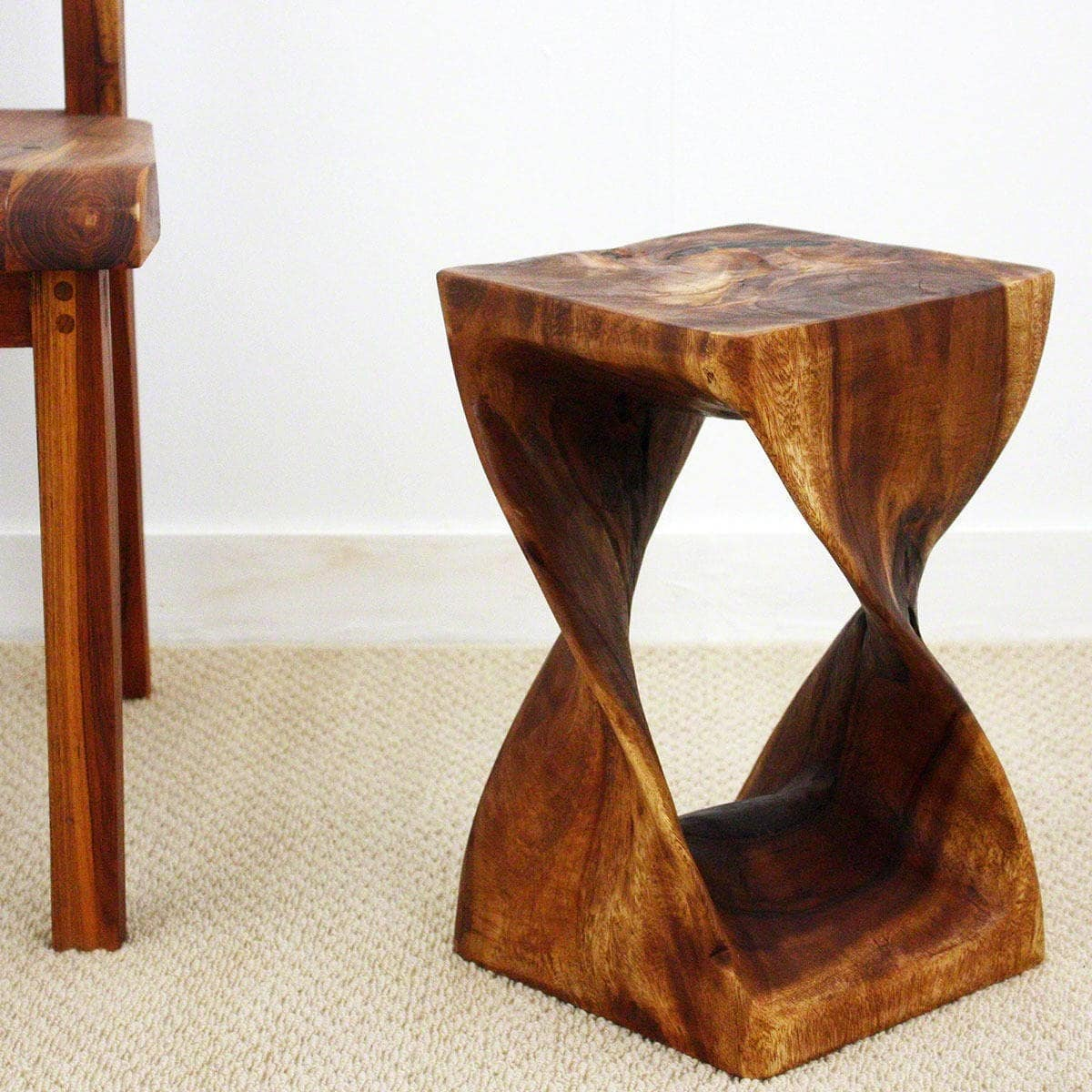 Haussmann 10 Inches Square x 16-inch Monkey Pod Wood Walnut Oil-finished Twist Stool (Thailand)