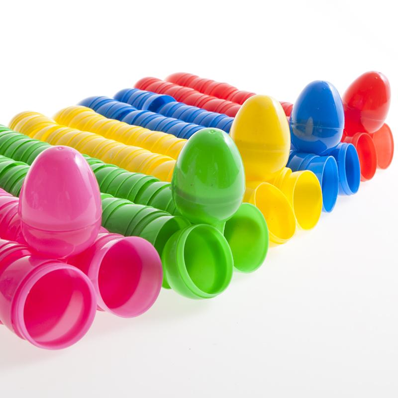 "2.5"" Multicolor Hinged Plastic Easter Eggs"