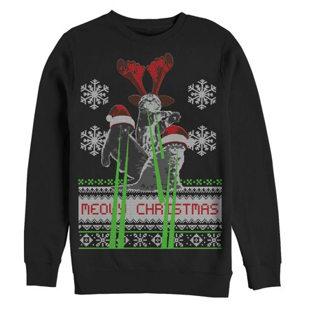 ed2bae9b5070a Men's Ugly Christmas Sweater Laser Cats Sweatshirt - Walmart.com