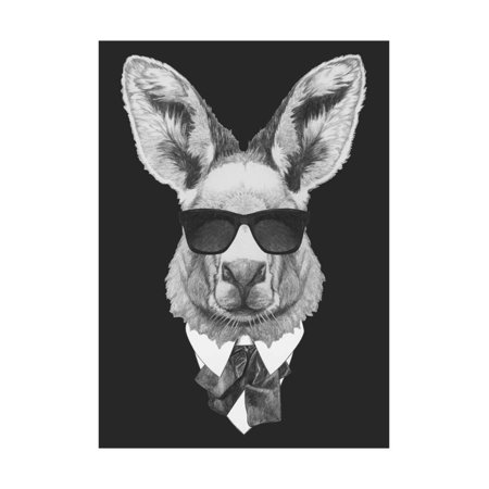Portrait of Kangaroo in Suit. Hand Drawn Illustration. Print Wall Art By victoria_novak
