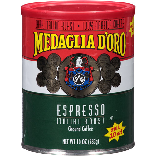 Medaglia D'Oro Italian Roast Espresso Ground Coffee, 10 oz, (Pack of 12)
