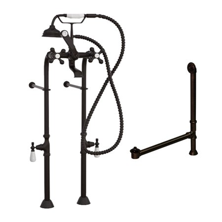 Classic Telephone Freestanding Bathtub Faucet & Plumbing Package- Oil Rubbed Bronze ()