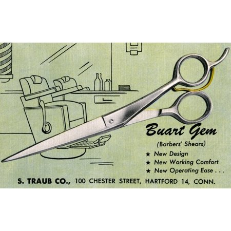The S Taub company produced this postcard to advertise its Buart Gem barbers shears Poster Print by Curt Teich & Company Hotel Advertising Postcard
