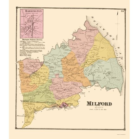Old City Map - Milford Delaware Landowner - Beers 1868 - 23 x 26.44 City Map Of Delaware on