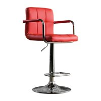 Furniture of America Justin Contemporary Leatherette Counter Height Bar Stool, Red