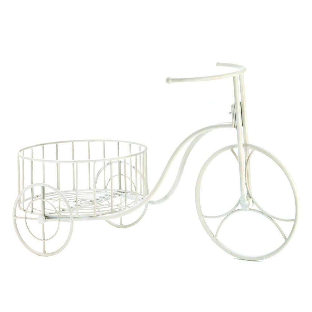 White Bicycle Planter, Modern White Iron Bicycle Outdoor ...