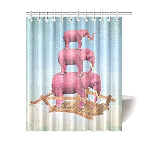 GCKG Lovely Elephant Art Shower Curtain Hooks 60x72 Inches Pink