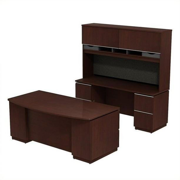 Bush Bbf Milano2 72 Desk With Credenza And Hutch In Harvest Cherry Walmart Com Walmart Com