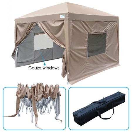 Upgraded Privacy 10x10 EZ Pop Up Canopy Tent Instant Canopy Folding Party Tent with Side Walls and Mesh Windows Waterproof