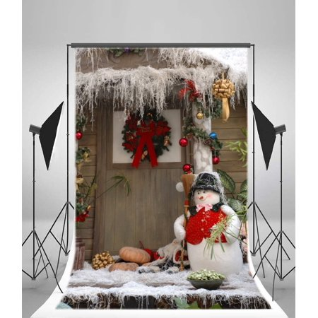 MOHome Polyster 5x7ft Christmas Backdrop Photography Background Snowman Garland Pumpkin Pine Twigs Vine Balls Heavy Snow Rustic Wood Door Winter Happy New Year Backdrops Kids Adults Photo Studio