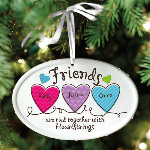 Personalized Friends Heartstrings Oval Ornament