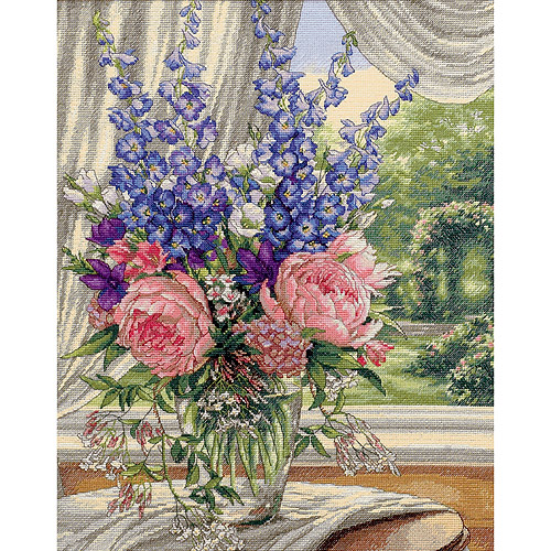 "Dimensions Gold Collection ""Peonies/Delphiniums"" Counted Cross Stitch Kit, 12"" x 15"""