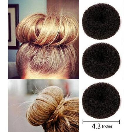 Brown Extra-large Size Hair Donut Bun, Ring Styler Maker, 3-Pcs (3 In 1 Hair Styler For Girls)